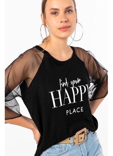 Emjey Happy Baskılı Kolları Tül Bluz Siyah